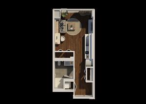 Studio Style 4 Apartment Floor Plan at Eleven40, Chicago, Illinois