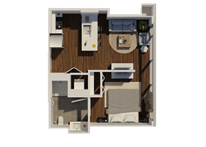 One Bedroom Style A1 Apartment Floor Plan at Eleven40, Chicago, IL, 60605