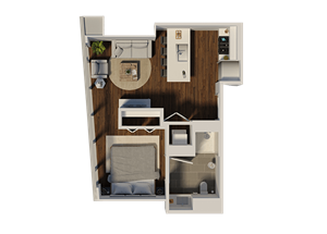 One Bedroom Style A2 Apartment Floor Plan at Eleven40, Chicago, IL
