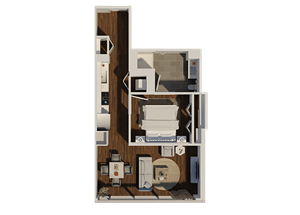 One Bedroom Style A2 Apartment Floor Plan at Eleven40, Chicago, 60605