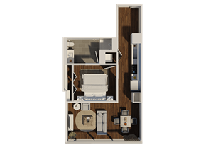 One Bedroom Style A1 Apartment Floor Plan at Eleven40, Chicago, Illinois