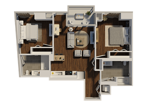 Two Bedroom Style 1 Apartment Floor Plan at Eleven40, Chicago, IL, 60605