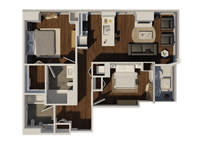 Two Bedroom Style 2 Apartment Floor Plan at Eleven40, Illinois, 60605