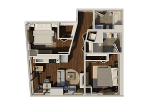 Two Bedroom Style 4 Apartment Floor Plan at Eleven40, Chicago
