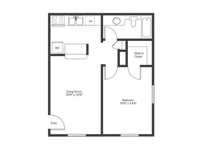 Solstice 1 Bedroom Floorplan