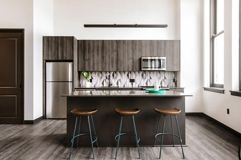 Fitted Kitchen With Island Dining at The May, Cleveland, 44114
