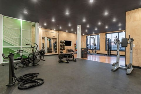 Fitness center with equipment such as ab machine, bicycle, and medicine balls