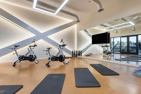 Fitness center with yoga mats, mirror wall, and a mounted television
