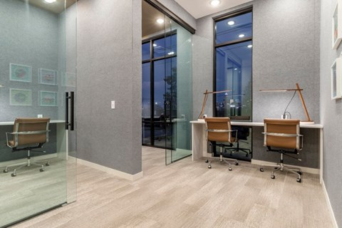 Individual desks and glass partition