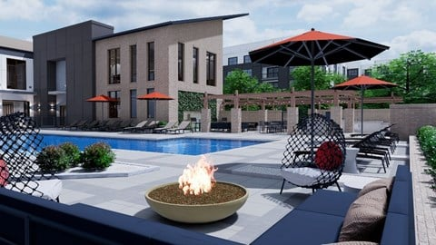 The Bryant Apartments | Poolside Lounge with Fire Pit