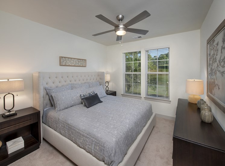Master Bedroom Feels Large and Spacious with Impressive 9 Foot Ceilings and Large Walk-In Closets at Park 35 on Clairmont Apartment Homes, 3500 Clairmont Ave. Birmingham, AL 35222