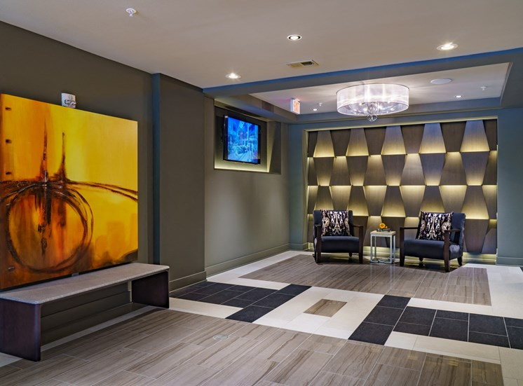 Stunning Modern Design Community Clubhouse with Ample Space and Multiple TV Screens for Meetings & Viewing Parties at Park 35 on Clairmont Apartment Homes, 3500 Clairmont Ave. Birmingham, AL 35222