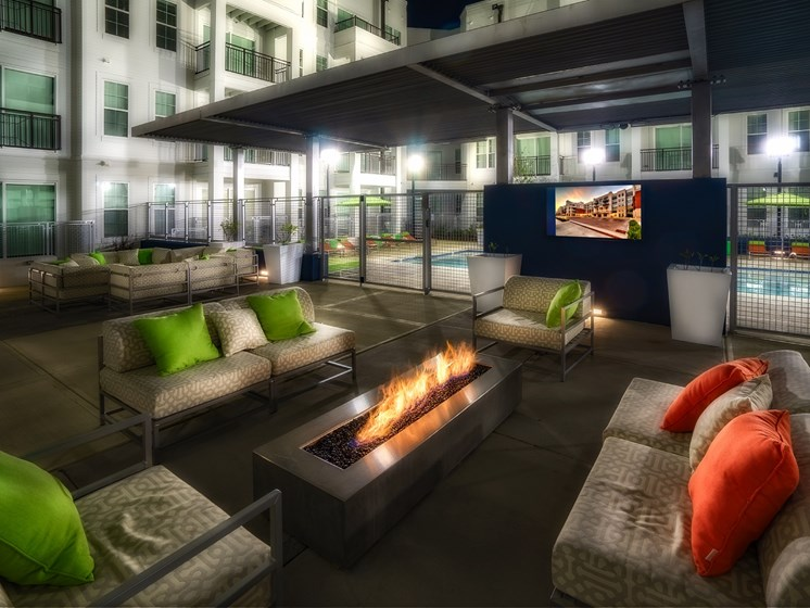 Enjoy the Outdoor Patio with Fire Pit and Seating at Park 35 on Clairmont Apartment Homes, 3500 Clairmont Ave. Birmingham, AL 35222
