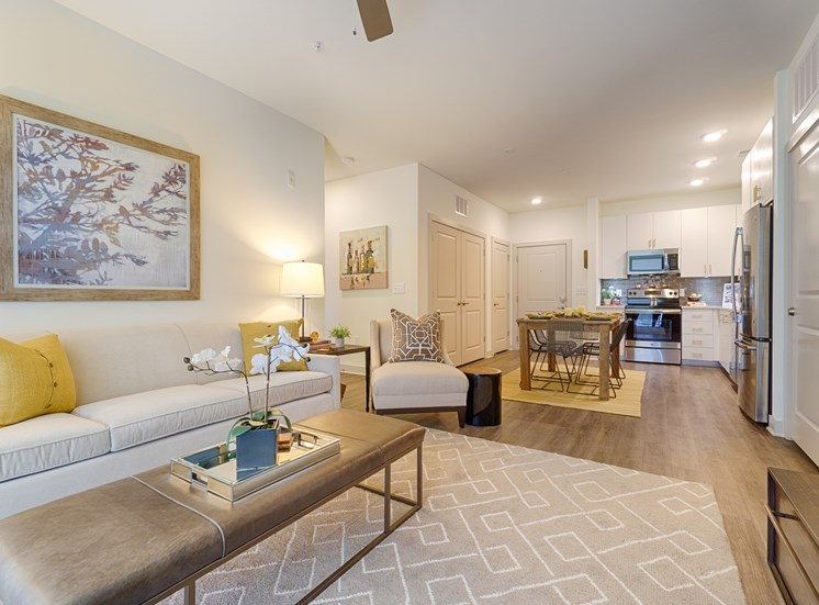 Soaring 9 Foot Ceilings Make the Living Spaces feel Spacious with Ceiling Fans and Wood Grain Plank Flooring in all Living Areas at Park 35 on Clairmont, 3500 Clairmont Ave. Birmingham, AL 35222