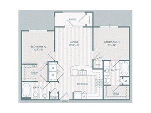 B1 Floor Plan at Century Lake Highlands, Dallas, Texas