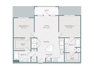 B2 Floor Plan at Century Lake Highlands, Dallas