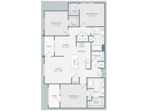 C1 Floor Plan at Century Lake Highlands, Texas, 75231