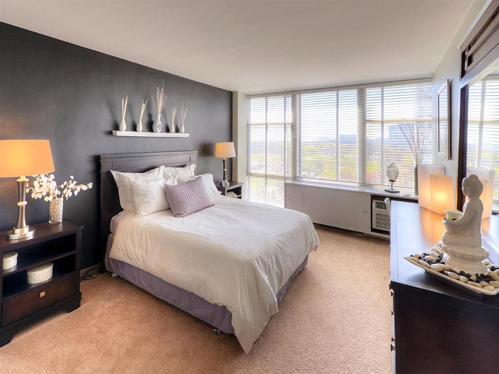 Bedroom With Expansive Window, at Prairie Shores, Chicago