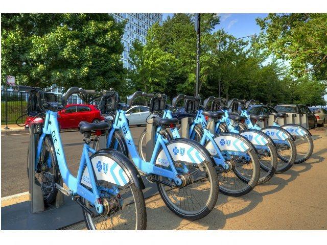 Bike racks, at Prairie Shores, Chicago, IL