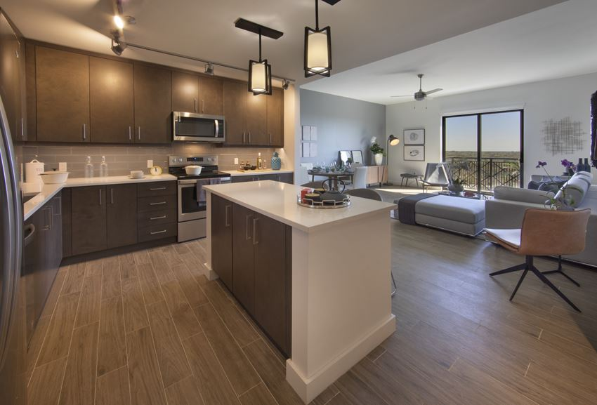 The Residences at THesis Model Kitchen and Living