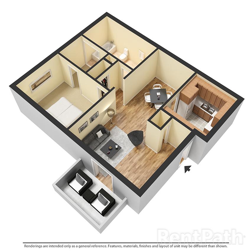 Agave 1BR 1BA Floor Plan