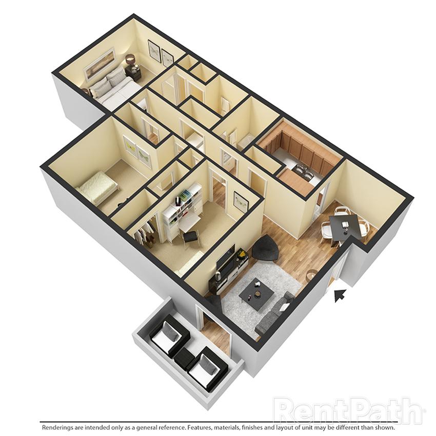 Calluna 3 BR 2BA Floor Plan