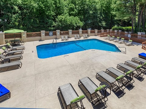 Top View Of Lovely Sundeck Pool at Edwards Mill Townhomes & Apartments, Raleigh, NC, 27612