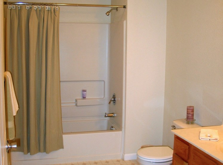 Large bathroom with shower and tub at Prairie Apartments