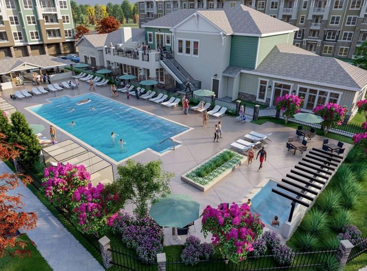 Aerial View Of The Pool at Alira, Sacramento, CA