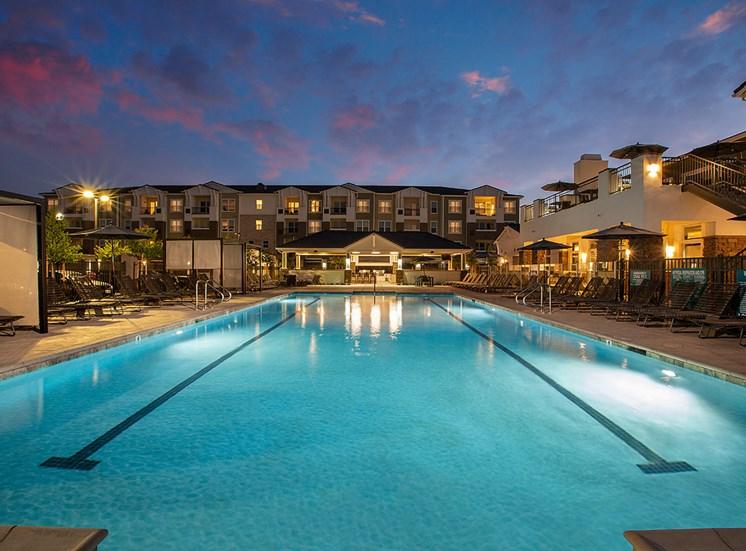 Pool at Twilight at Alira, Sacramento, California