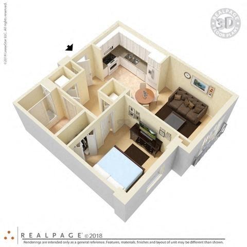 1 Bedroom 1 Bath 3D Floorplan Furnished_Brownsville Village II, Miami, FL 33142