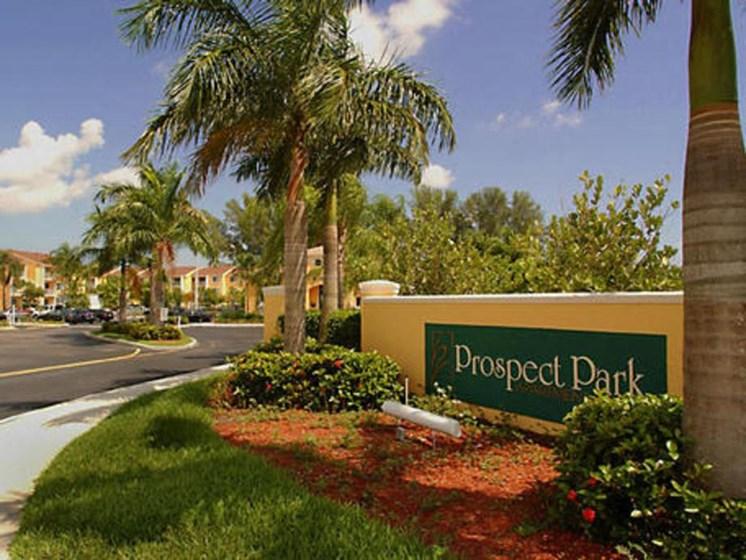 exterior sign at the entrance_Prospect Park Apartments Ft. Lauderdale, FL