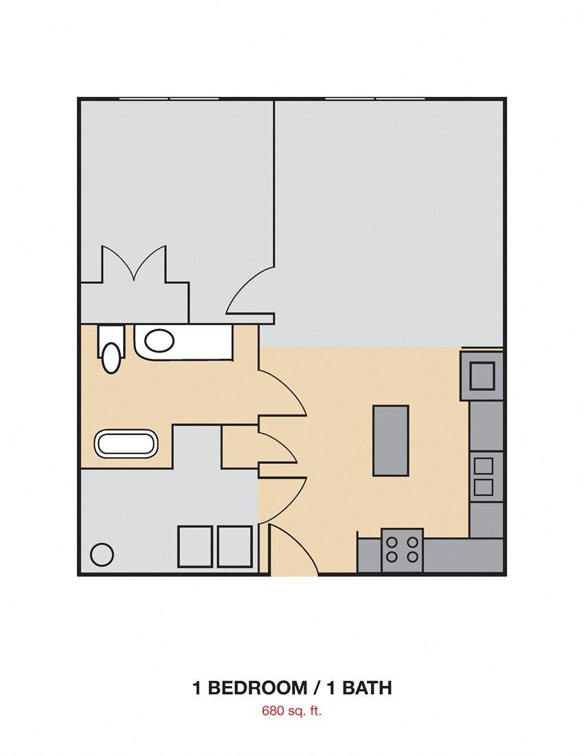 1 Bedroom 1 Bath 2D FloorplanCedars at Carver Park Galveston, TX