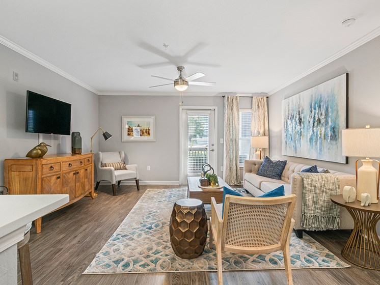 Classic Living Room Design With Television at Latitude at Wescott, Summerville, SC, 29485