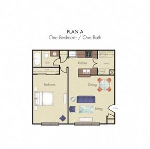 1 Bedroom 1 Bath 2D floorplan Plan A-Quality Hill Square, Kansas City, MO