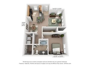 A1B One Bed One Bath Floor Plan at Millennium, Greenville, SC