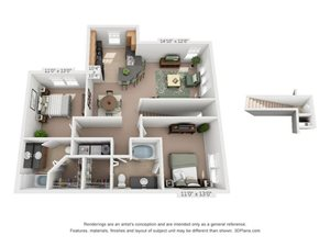 B2B Two Bed Two Bath Floor Plan at Millennium, Greenville, South Carolina