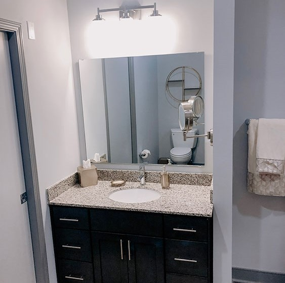 Bathroom with Vanity Lights at The Ivy at Berlin Place, Indiana, 46601