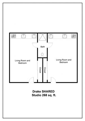 Meridian Pointe Apartments Drake Studio Shared Floor Plan