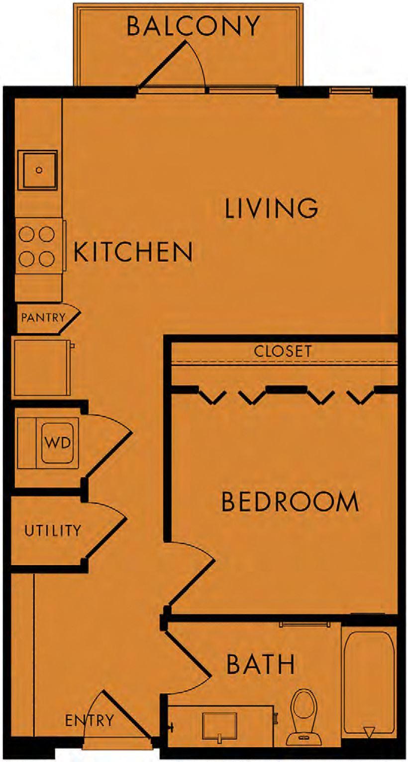 1 bed, 1 bath 540 sq ft