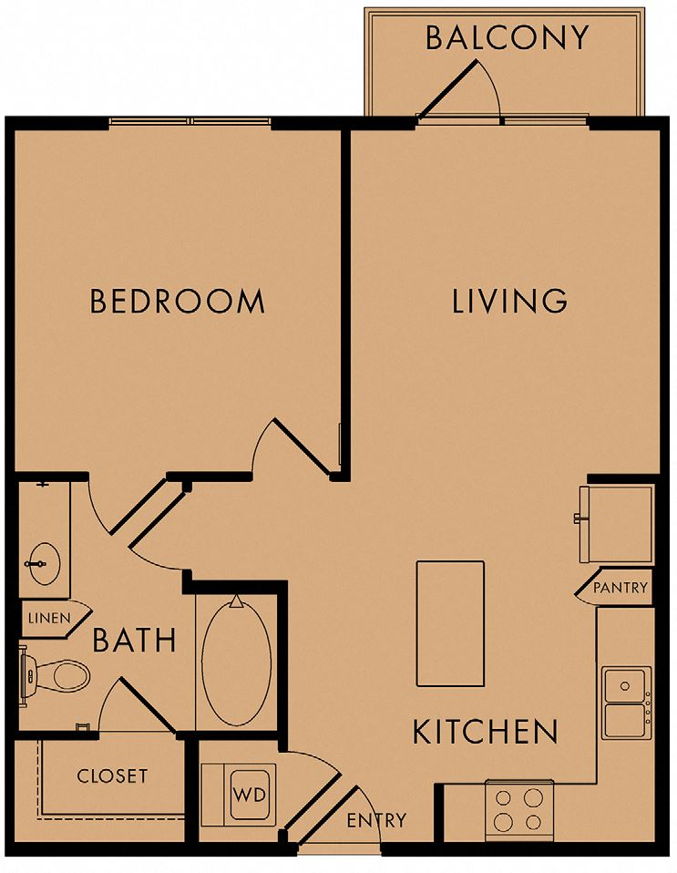 1 bed, 1 bath 657 sq ft