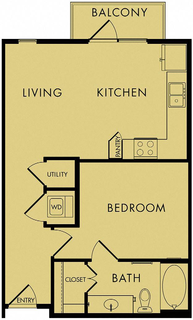 1 bed, 1 bath 615 sq ft