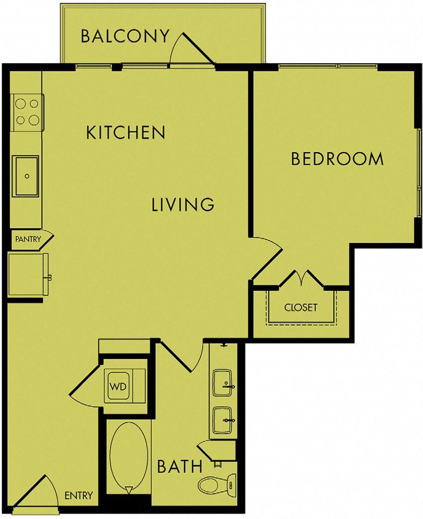 1 bed, 1 bath 677 sq ft