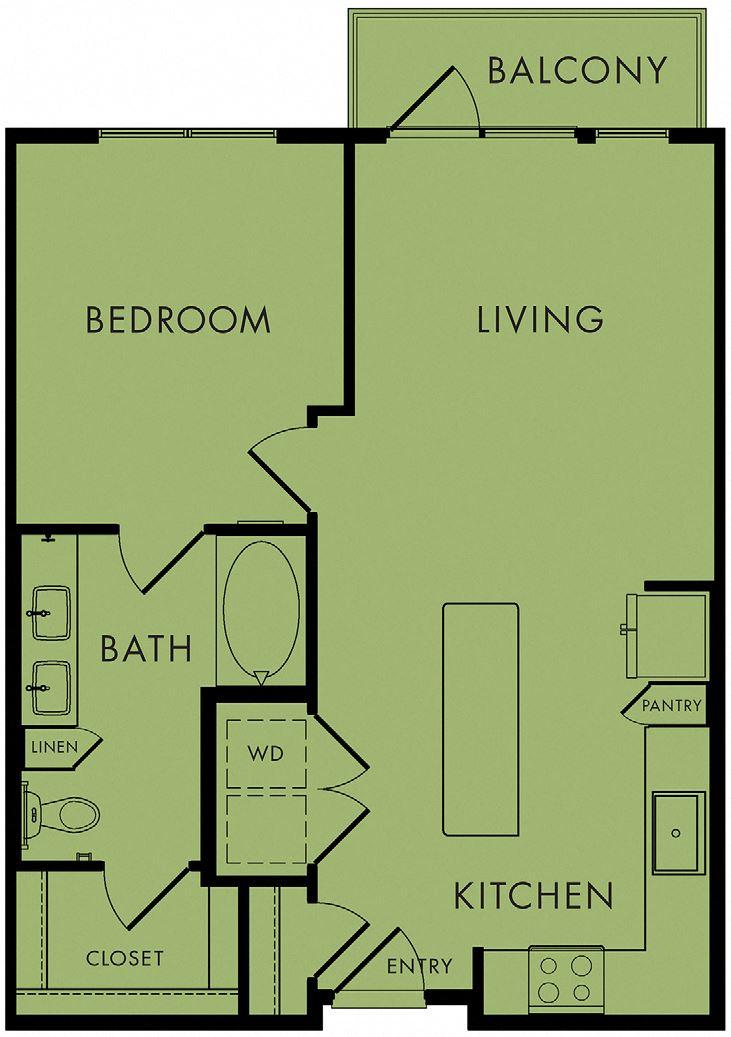 1 bed, 1 bath 720 sq ft