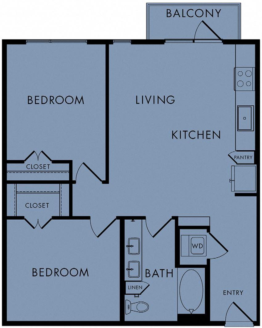 2 bed, 1 bath 868 sq ft