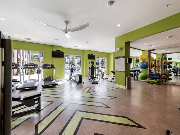 Fitness center with cardio machines, weight machines and free weights