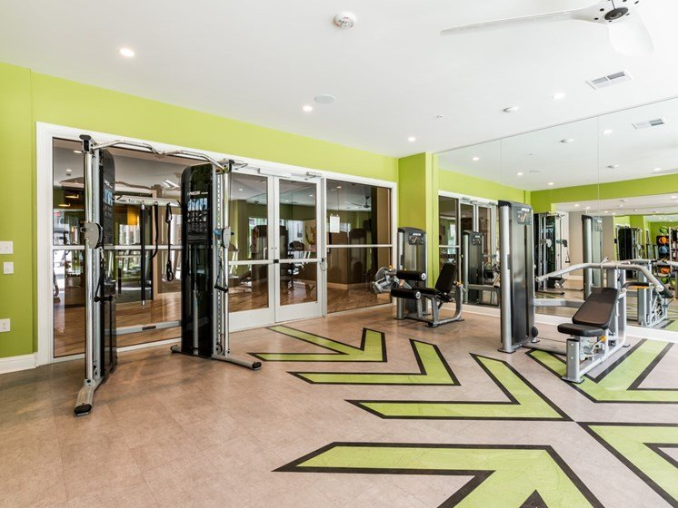Weight machines, wood-style floors, and ceiling fans