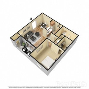1 Bedroom 1 Bathroom 3D Floor Plan