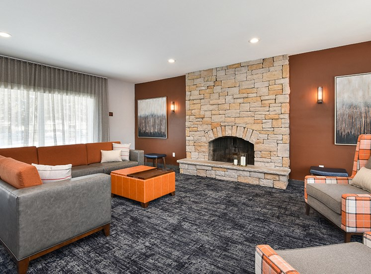 Pines of Burnsville - Clubhouse Seating Area & Fireplace