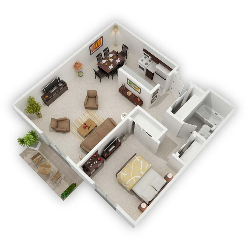 Country Bluff Apartments - The Jefferson One-Bedroom Floor Plan (3D)